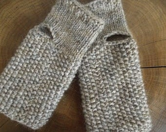 Hand knit fingerless gloves with sewed folk sign