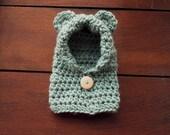 crochet bear hoodie in high tide (newborn)