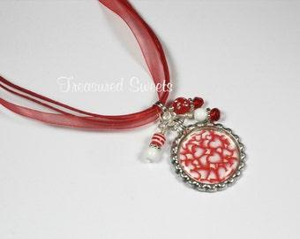 SALE Heart Bottle Cap Necklace Bottlecap Pendant Gift for Girls Tweens Red Sweetheart Valentines Day Teen Jewelry TSN04