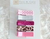 Set of 5 Fully Lined MINI Non Slip Hair Clips-Pink,Brown and Grey Hair Clip Set -Glitter Hair Clips/Satin Hair Clips,Polka Dots,Animal Print