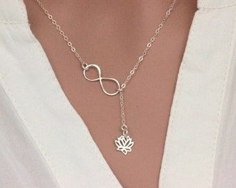 Sterling Silver Lotus Flower Necklace, Lotus Necklace, Infinity Lotus Lariat NEcklace, Sterling Silver  Lotus Flower Necklace, Yoga Neckalce
