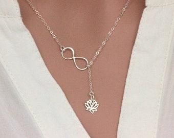 Sterling Silver Lotus Flower Necklace, Lotus Necklace, Infinity Lotus Lariat NEcklace, Sterling Silver  Lotus Flower Necklace, Yoga Neckalce
