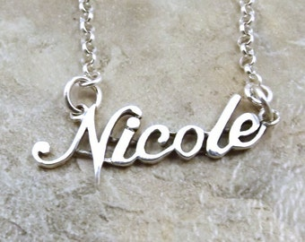 Sterling Silver Name Necklace -Nicole - on Sterling Silver Rolo Chain in Length of Choice -2048