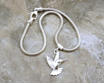 Sterling Silver Hummingbird Charm on a Sterling Silver Slim European Charm Bracelet  (1022/1429)