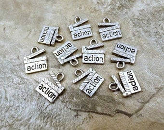 Ten (10) Pewter Movie Directors Clapboard Charms - 1201
