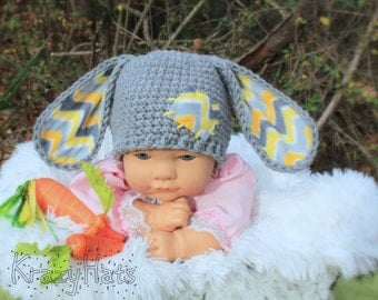 Crochet gray bunny hat with fabric ears. Made to order.