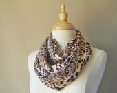 FREE SHIPPING Fall Colors, Infinity Scarf, Extra Long Leopard Print Patterned Infinity Scarf