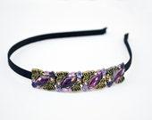 Purple flower rhinestone headband - Adult headband with purple flower rhinestone - Teen purple headband - Gift for her under 15