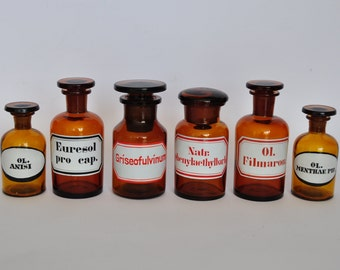 SALE ONE Vintage German Apothecary Bottle with Original Label.  Black Letters or Red Letters.  Brown Glass.