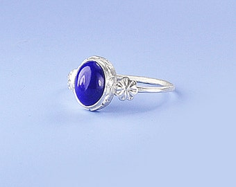 Lapis Silver Ring, Lapis Lazuli Ring, Blue Stone Ring, Handmade Lapis and Silver Ring, Petite Ring, Sterling Silver Ring, Lapis Cab Ring