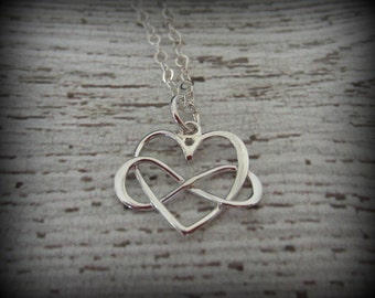 Silver Infinity Heart Necklace-Silver Heart Necklace-Silver Infinity Necklace-Minimalist Jewelry-Infinity Jewelry-Silver Heart Jewelry