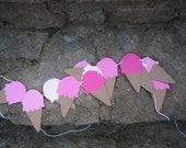 SHIP READY Ice Cream Cone Garland Sign for Bedroom - Bunting (Sign, Flags, Pennants) Pink Ombre - Can be Personalized