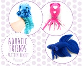 Aquatic Friends PDF Sewing Pattern Bundle - Jellyfish, Squid, Betta Fish