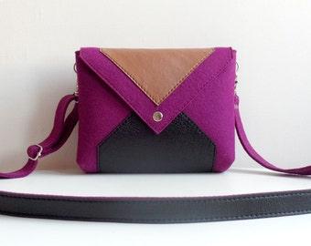 Purple Black Brown Wool Felt Genuine Leather Messenger Crossbody Bag