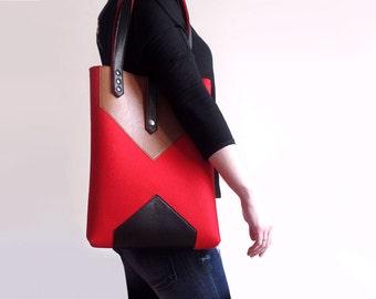 Red Brown Black Wool Felt Genuine Leather Tote Bag