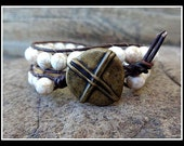 Beaded Leather Wrap Bracelet with White Howlite Beads