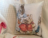 "Beatrix Potter Pillow Peter Rabbit, Mrs. Cottontail and girls 9"" x 7.5"" Handmade just for you"