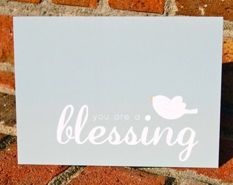 note card set . you are a blessing . white birdie . 6, 4x5 folded note cards (blank on the inside) with envelopes