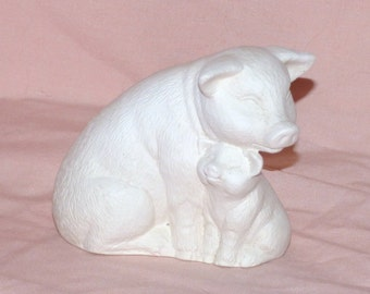 Vintage Pig and Baby Pig Greenware/Ready to Paint Ceramics/Bisque Figurines
