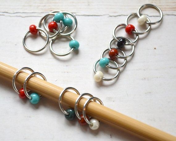 Cherokee / Stitch Markers - Dangle Free Snag Free Knitting Stitch Markers - Small Medium Large Sizes Available
