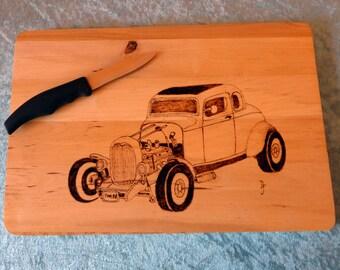The Yellow American Graffiti '32, 5-Window Deuce Coupe Hot Rod Rectangular Chopping Board