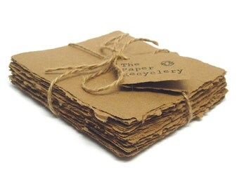 Brown Kraft square handmade paper, recycled, deckle edge, ten 5x5 inch sheets