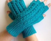 Womens texting, cabled mittens,hand knit/crochet turquoise fingerless gloves,arm warmers,hand warmers,designer unique hippie