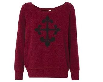 Black and Red Fluer De Lis Cross- Fleece Slouchy Wideneck Sweatshirt