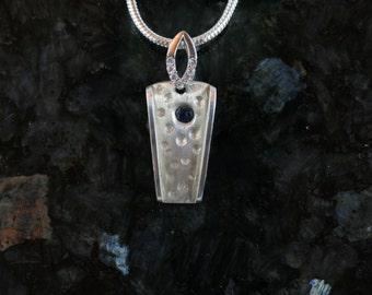 Blue sapphire fine silver pendant