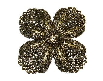 1  Antique Gold Filigree Flower, Stamping, 65 mm