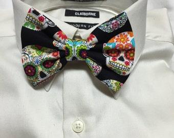 Festive Sugar Skull Print Bowtie / Bow Tie