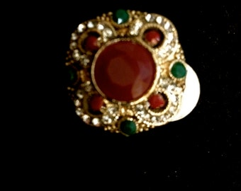 Turkish ring with green and red stones, ring, turkish jewelry, antique, exotic jewelry