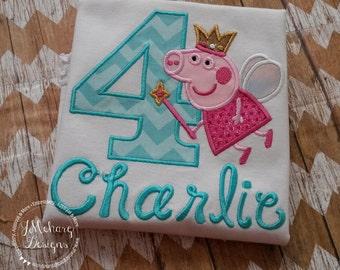 Fairy Princess Peppa Pig Birthday Custom Tee Shirt - Customizable -  Infant to Youth 290