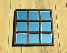 Handmade Solid Wood Detailed Metallic Black Mirror Window Panel