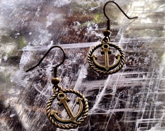 Bronze Anchor Earrings, anchor earrings, nautical earrings, anchors, nautical jewelry, sailing, pirate, ship, rockabilly, trendy earrings