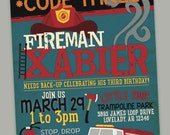 Fireman/Firetruck Birthday Invitation - Digital 5x7 JPEG, Option for Printing