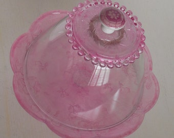 Pink glass cake stand and dome / Cupcake stand / Dessert pedestal / Handcrafted / 1st Birthday photo prop / Birthday cake stand