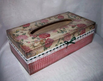 Unique Handmade Restangular Tissue Box Cover Country Style.