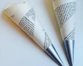 25 Confetti Cones Made In Vintage Book Pages With Hand Painted Silver Tips, Confetti toss, Confetti Bar, Petal Cones
