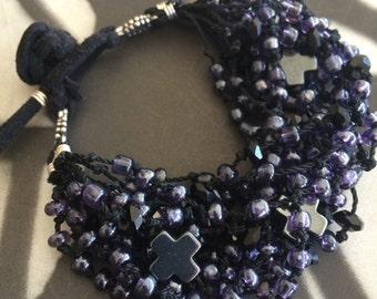 Triple Greek Cross Multi-Strand Bracelet, Purple, Blue, Beaded, Sterling Silver, Black, Cross Bracelet