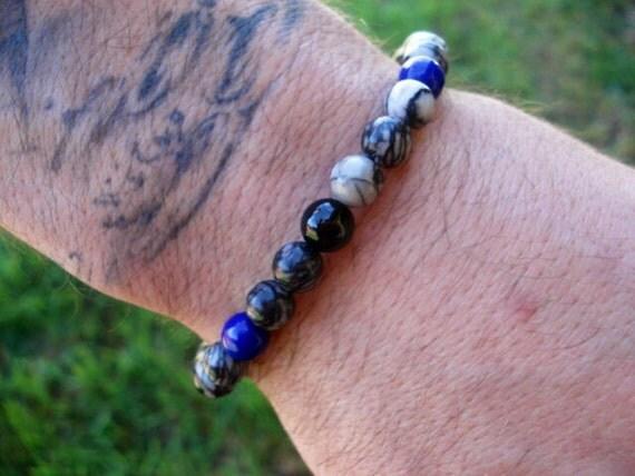 Blue Bracelet, Glass Bracelet, Black Bracelet, Bracelet Men, Mens Jewelry, Stackable Bracelets, Beaded Bracelet, Modern Bracelet