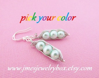 Three peas in a pod earrings - Choose your color! Made to order
