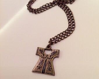 25%Sale-Brass Caftan Pendant, Ottoman Caftan, Turkish Caftan Pendant, Sultan's Robe  Pendant, Turkish Jewelry, Antique brass necklace,prom