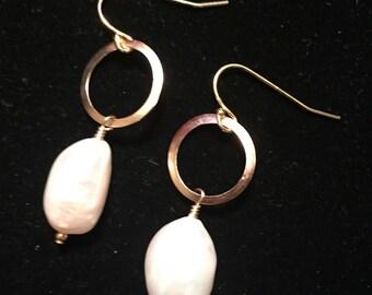 White Freshwater Pearl,  14k Gold Filled metal