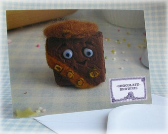 Brownie Greetings Card Cake Notelet Fun Cute Funny Bakery Girl Guide Pun Food Lover Cards Blank Inside