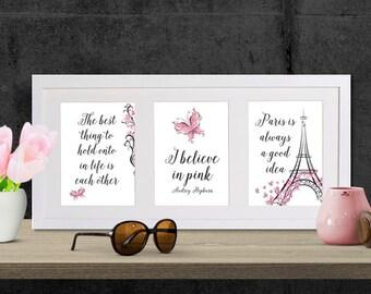 I Believe In Pink - 5x7 set - Printable Art - Instant Download Art - Audrey Hepburn - Printable Wall Art - Inspirational Quote - Happy Art