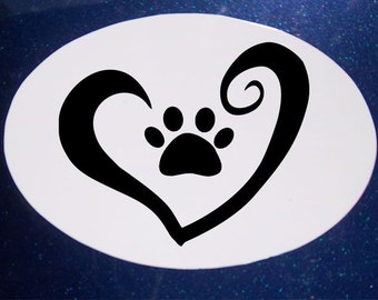 Love Pets Car Magnet, Oval Car Magnet, Rescue Pet, Pet Magnet, Dog Magnet, Heart Magnet, Paw Magnet