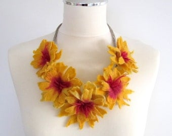 Felt Necklace Flower Felt Unique Linen  String Necklace with Amaranth Yellow Vanilla Felted Flower Merinowool Boho