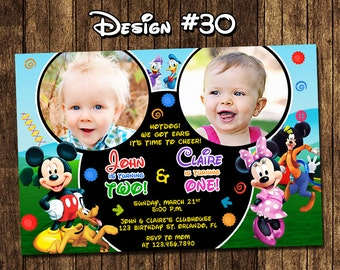 Mickey Minnie Mouse Clubhouse Birthday Double Party 2 Boy Girl 1st First 1 One Twins Photo Invitations - Printable