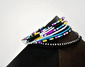 Tribal Inspired Rhythmic Multi-Colored Beaded Bracelet Set - Handmade Mother's Day Gifts - Masai Inspired Jewelry